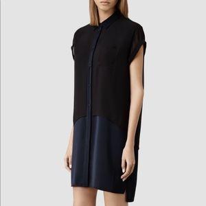 All Saints Silk Shirt Dress Size 2 Navy Black